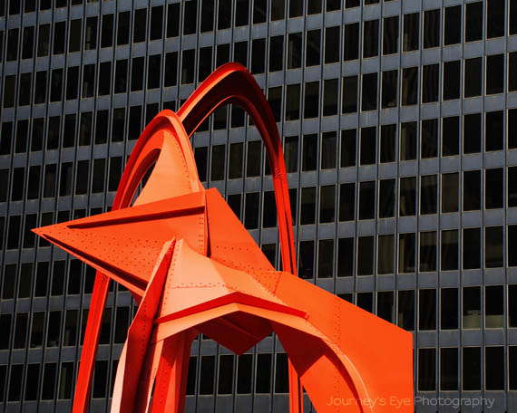 """The Flamingo"" statue by Alexander Calder"