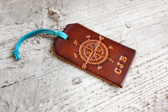 Custom leather luggage tag by Exsect in Texas