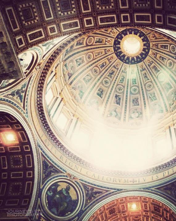 Looking upward inside St. Peter's Basilica