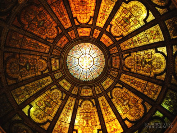 Tiffany stained-glass dome inside Chicago Cultural Center