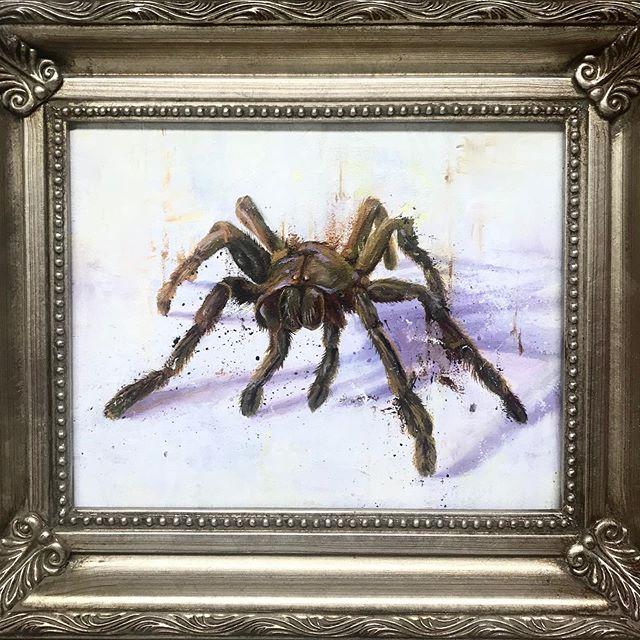 Small painting of a big spider. #karljahnke #artist #painting #contemporaryart #art#artwork #spiderart#spiders#contemporaryart #smallpainting #oilpainting