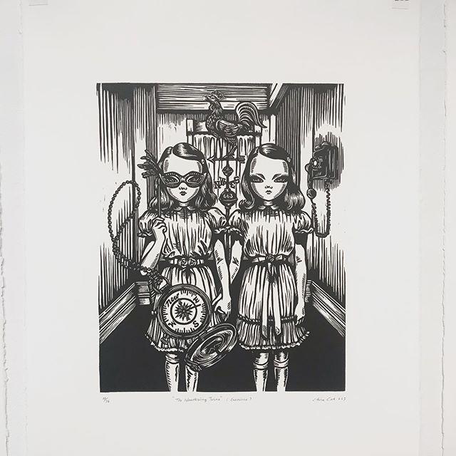 Checking out @chinacat663 block prints @sidestreetsa . #art#artgallery #prints#artist#blockprint #localart