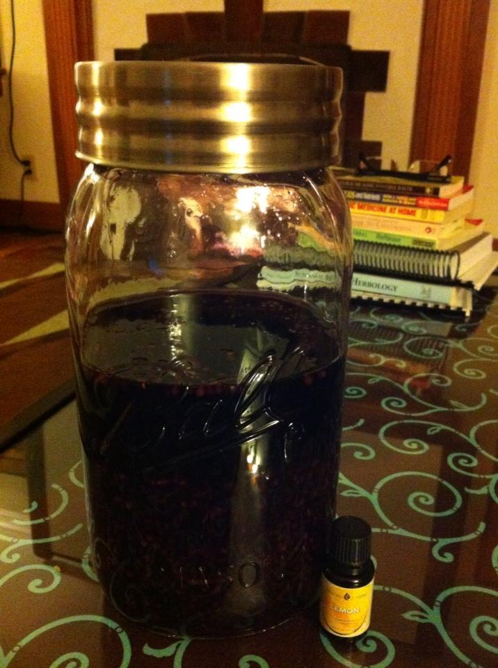 Elderberry in a GIANT ball jar:)