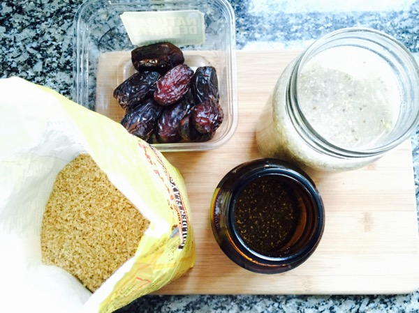 dates, ground organic flax and chia seed