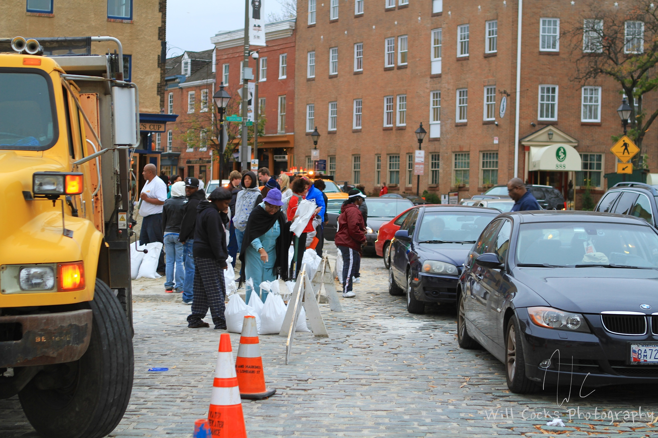 Thames St in Fells Point was a parking lot with people lined up to get their sand bags in preparation for Sandy.