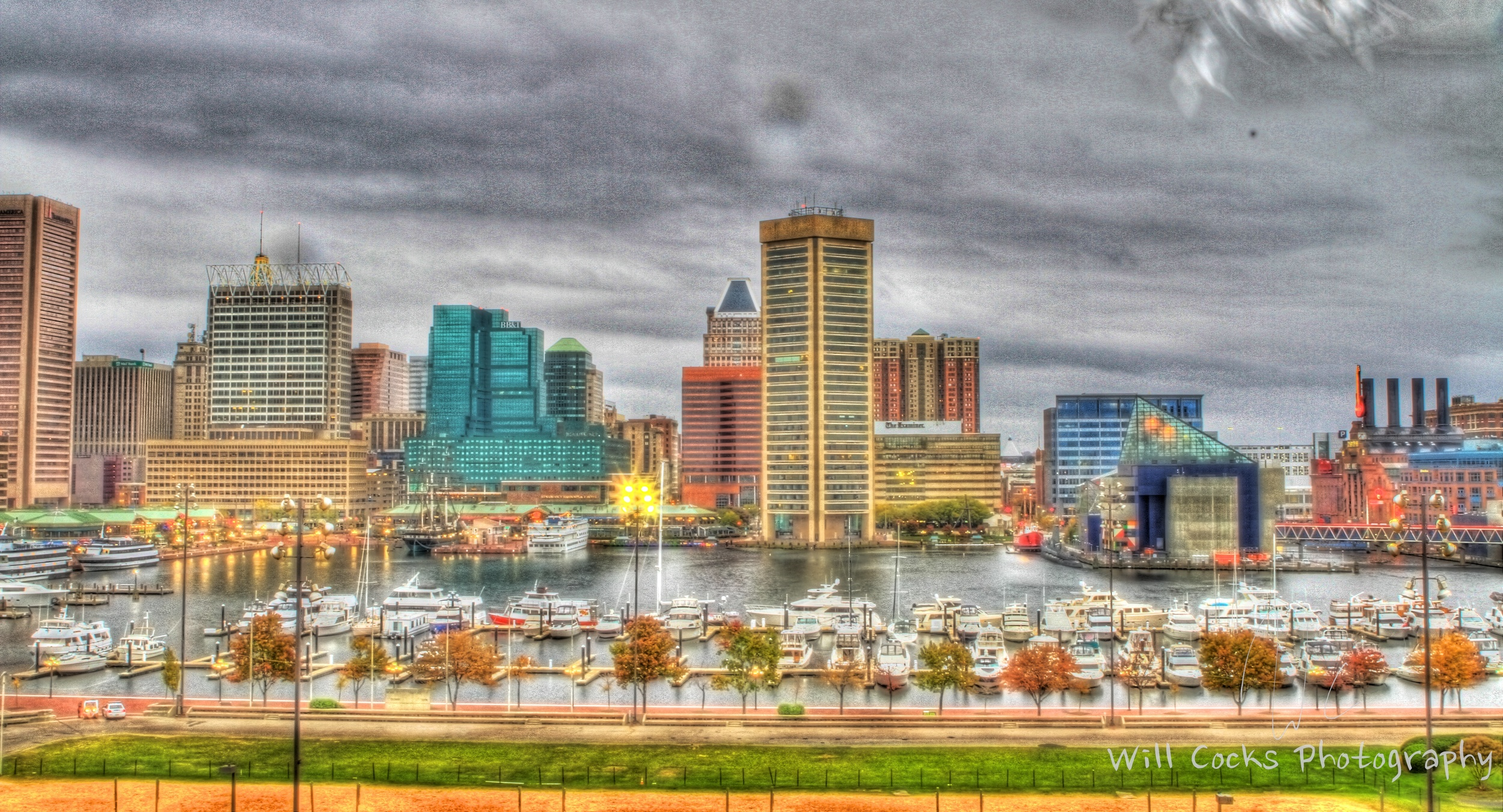 Baltimore's Harbor on Sunday Afternoon from Federal Hill Park