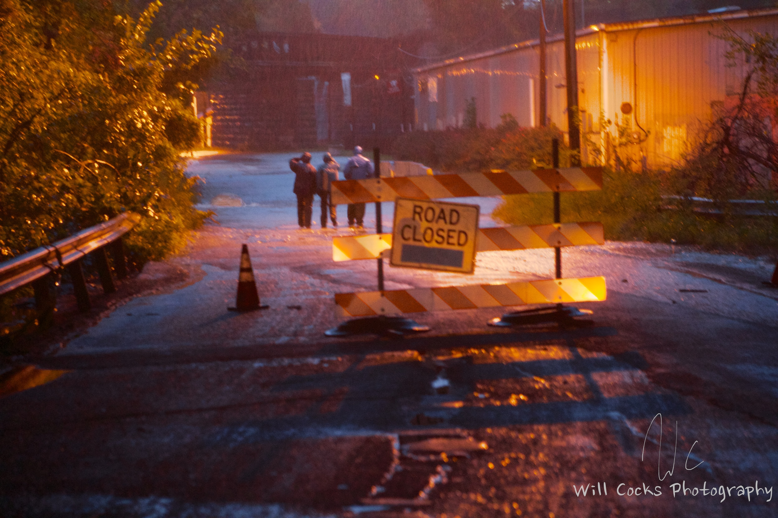 A Road Closed sign greets drivers on Falls Rd in Baltimore, MD