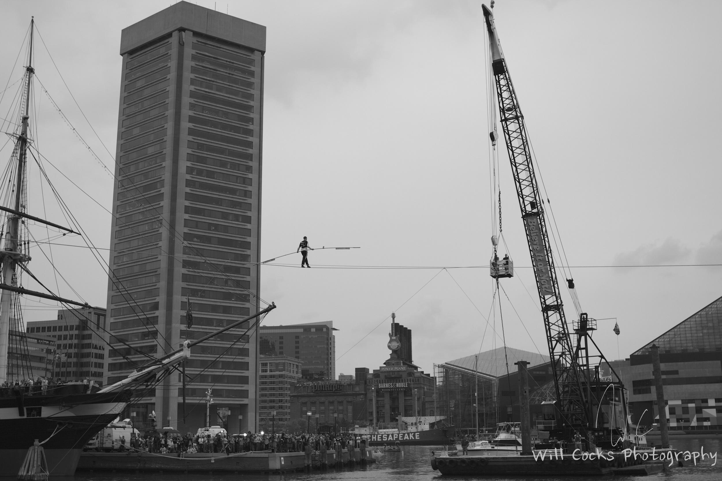 Nik Wallenda crosses the Harbor on a tight rope.