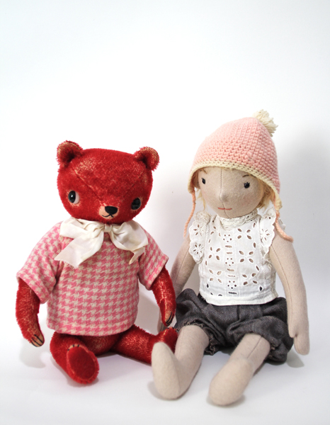 """Wool Felt Doll"" and ""Red Bear"" by Erika Olson Gross"