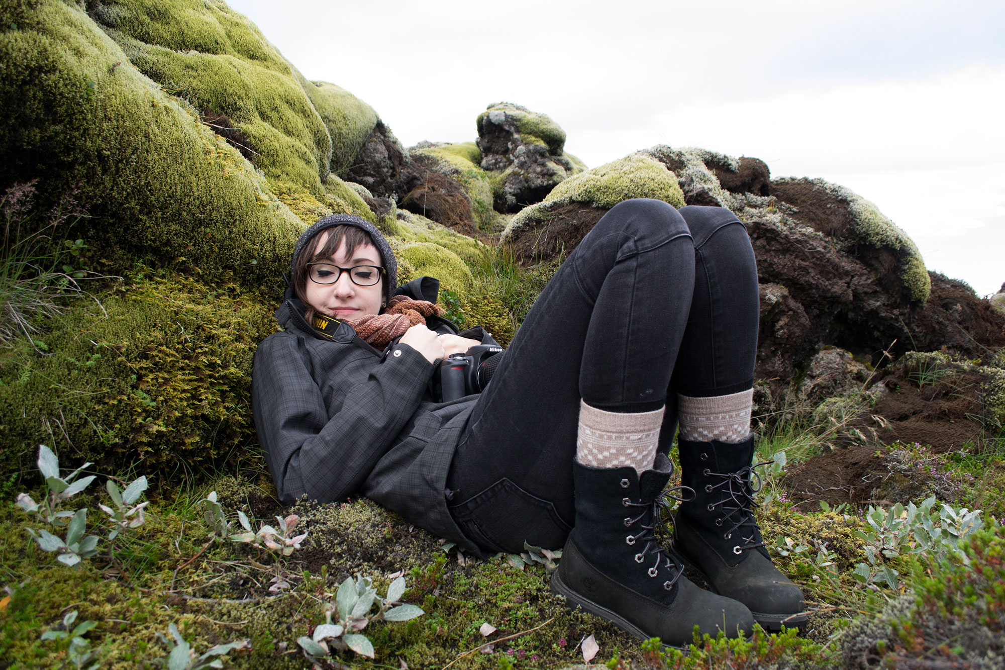 Teagan White cuddles up with some Icelandic Moss -- from our 2014 residency Photo by Jenny Wells