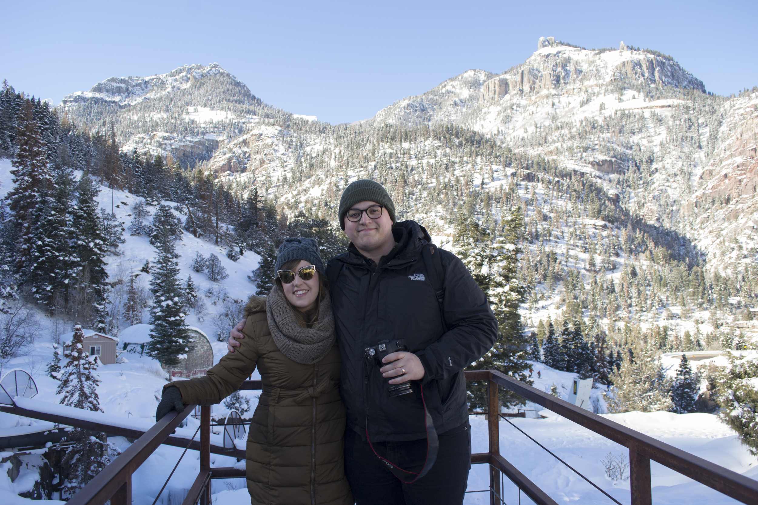 Jessica Roux and Nick Stratton enjoy the view from the Ouray Ice Park.