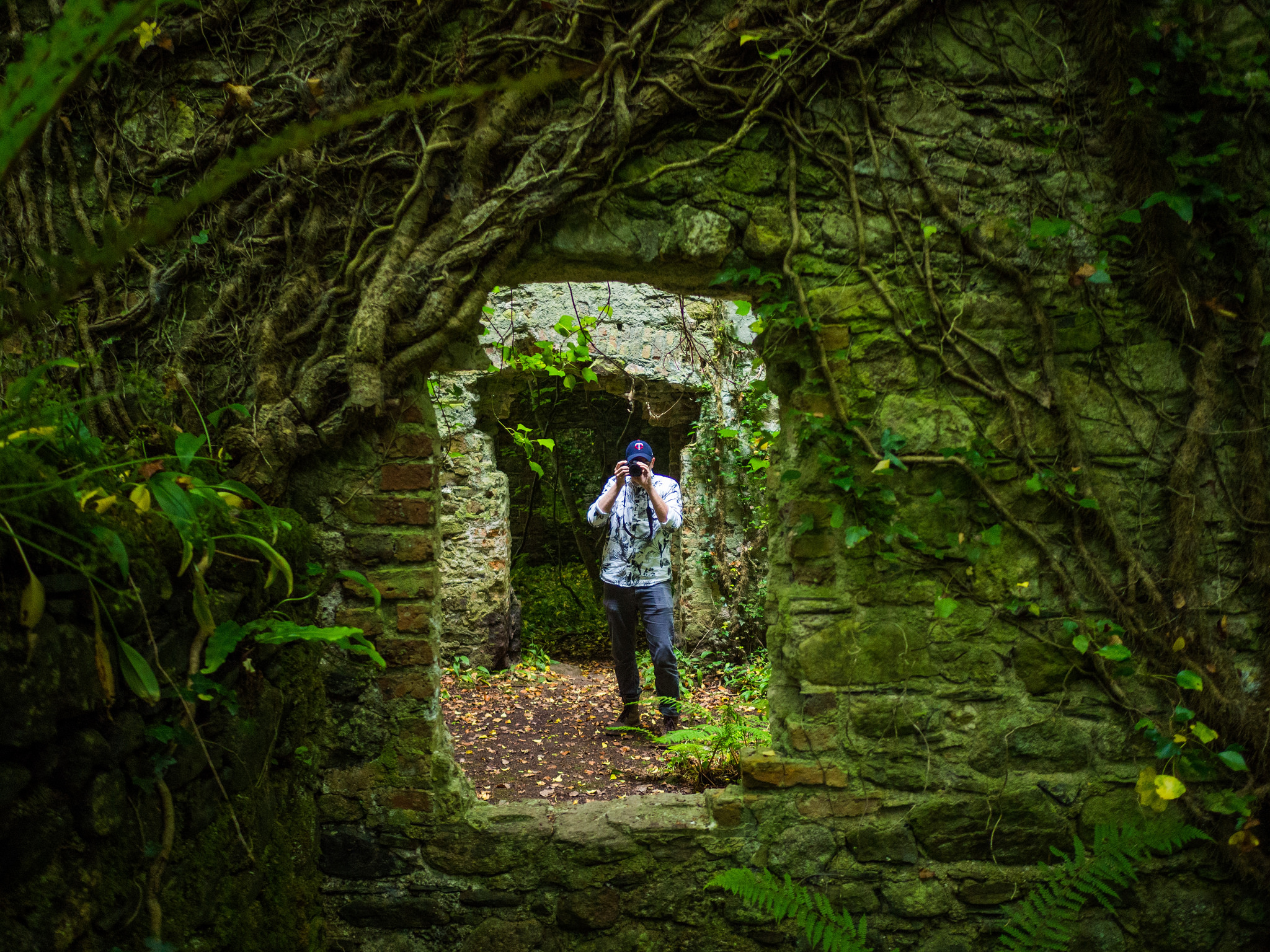 Light Grey Art Lab's Chris Hajny explores an old Monk structure at the Tintern Abbey.
