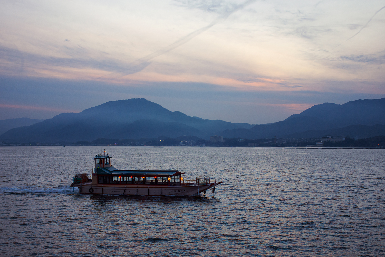 Looking out from ferry to Miyajima. Photo by Chris Hajny