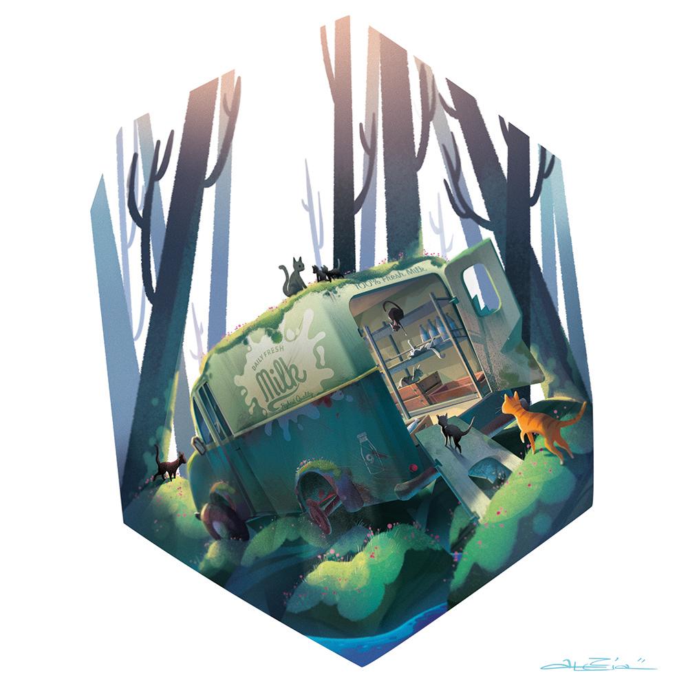 """""""Catty Wagon"""" by Alexia Tryfon"""