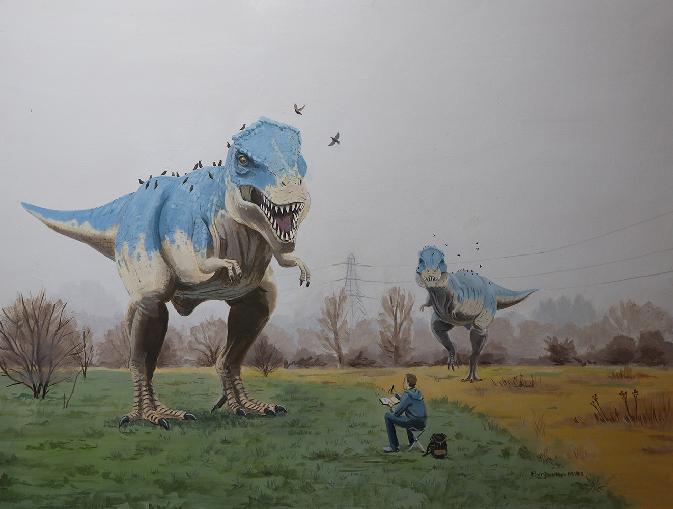 """Self Portrait with Two T-Rexes"" – Benjamin Mills"