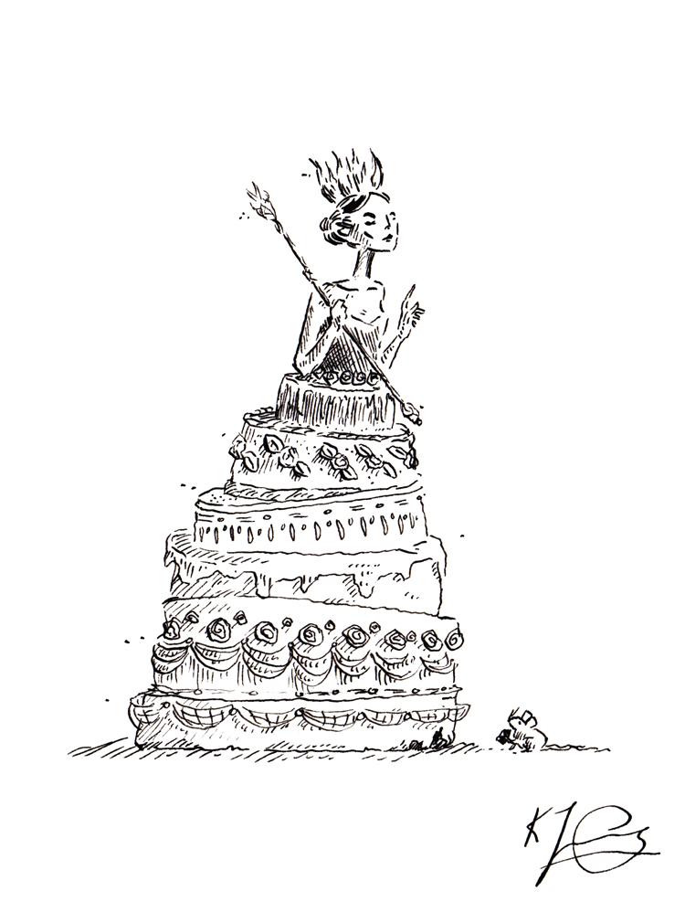 "CAKE QUEEN I Illustrations inspired by Seanan McGuire's novella 'Beneath the Sugar Sky'   Original Artwork –Pen & Ink Artwork Size: 5"" x 7"""