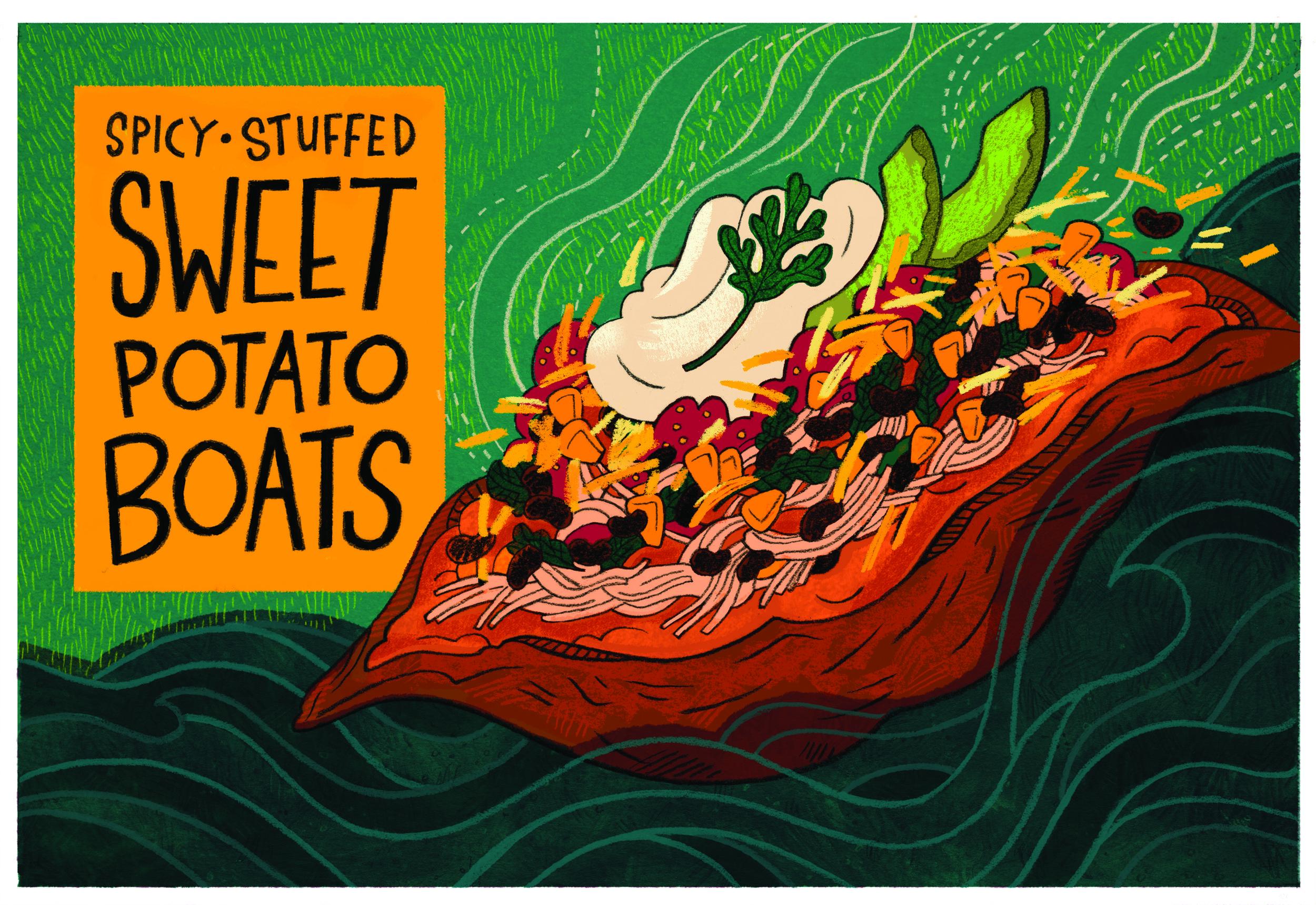 """Spicy Stuffed Sweet Potato Boats"""
