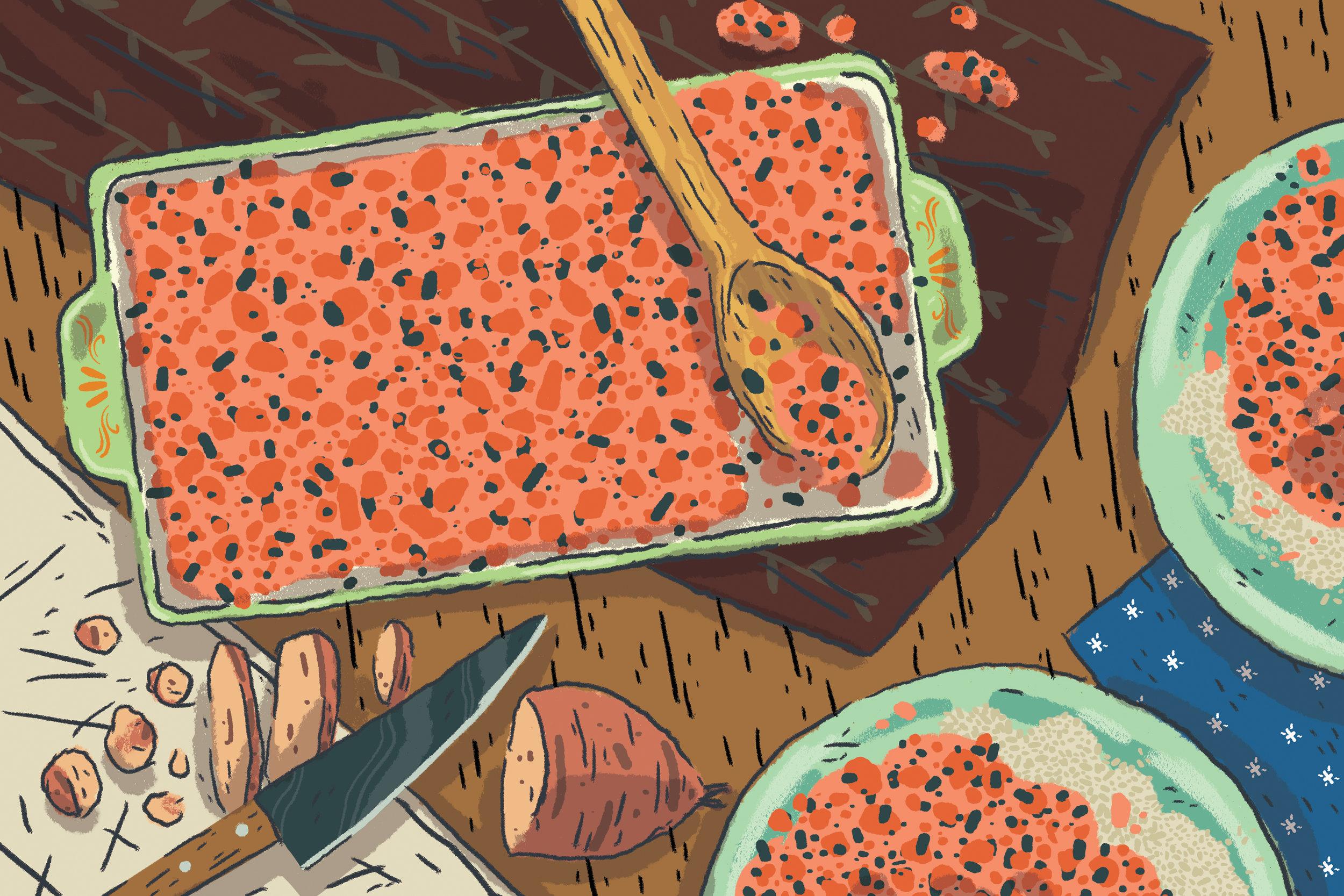 """Sweet Potatoes and Black Beans in Tikka Masala Sauce"""