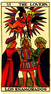 The Lovers card, from the Tarot of Marseille https://www.tarot.com/tarot/cards/the-lovers/marseilles