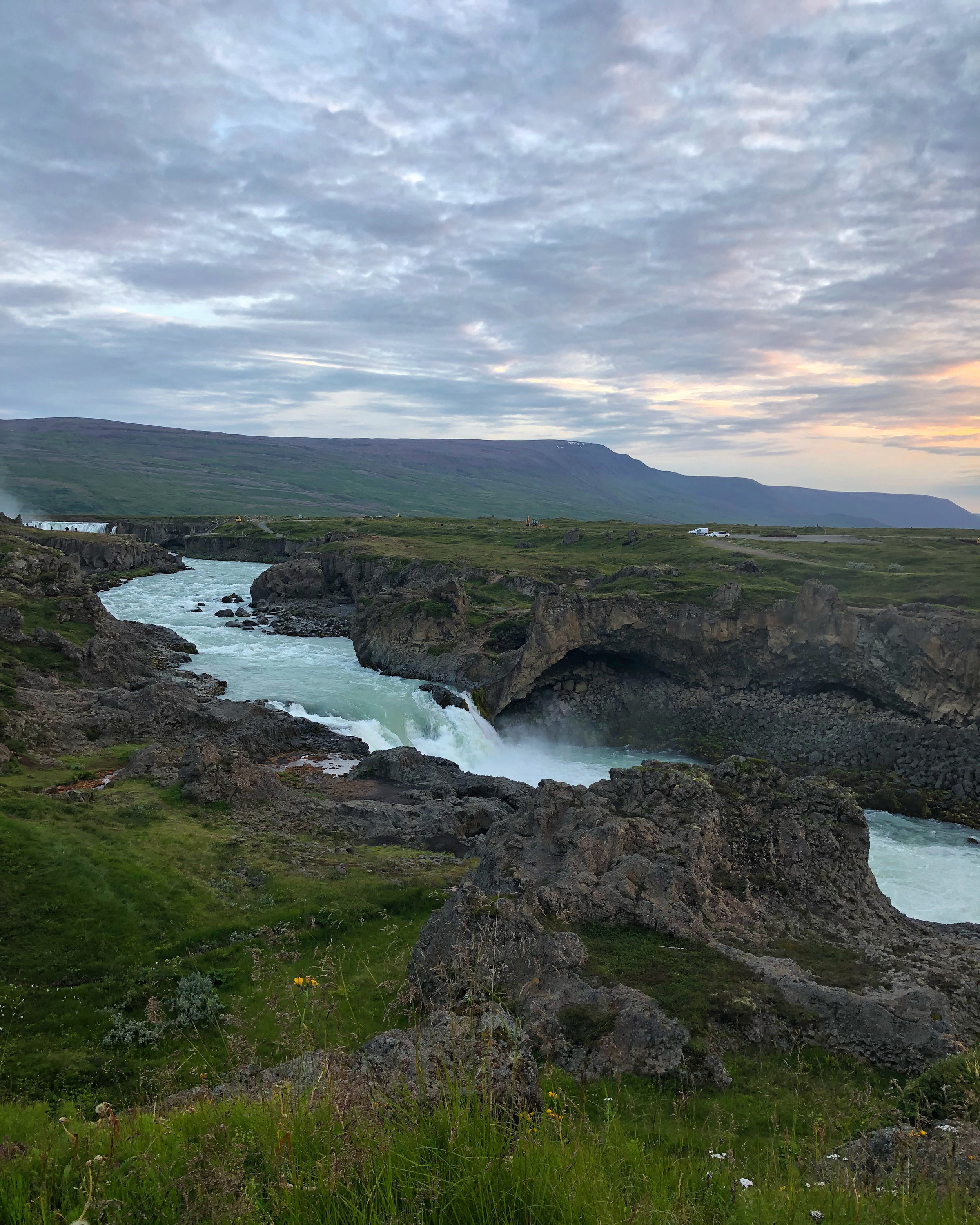 The colorful view of Goðafoss, the waterfall of the gods