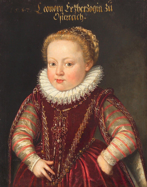 ARCHDUCHESS ELEONORE (1582-1620) AT THE AGE OF 5, HALF FIGURE  Dated 1587, attributed to: Ottavio Zanuoli (?)   https://www.khm.at/objektdb/detail/2370/?offset=0&lv=list