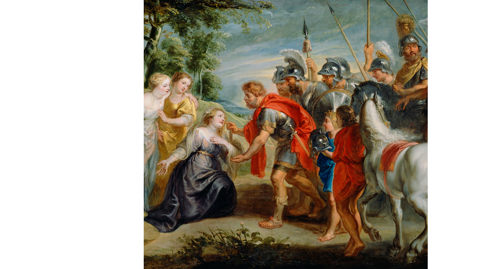 Workshop of Peter Paul Rubens (Flemish, 1577 - 1640)  David Meeting Abigail , about 1620s, Oil on canvas 123.2 × 228 cm (48 1/2 × 89 3/4 in.), 73.PA.68 The J. Paul Getty Museum, Los Angeles