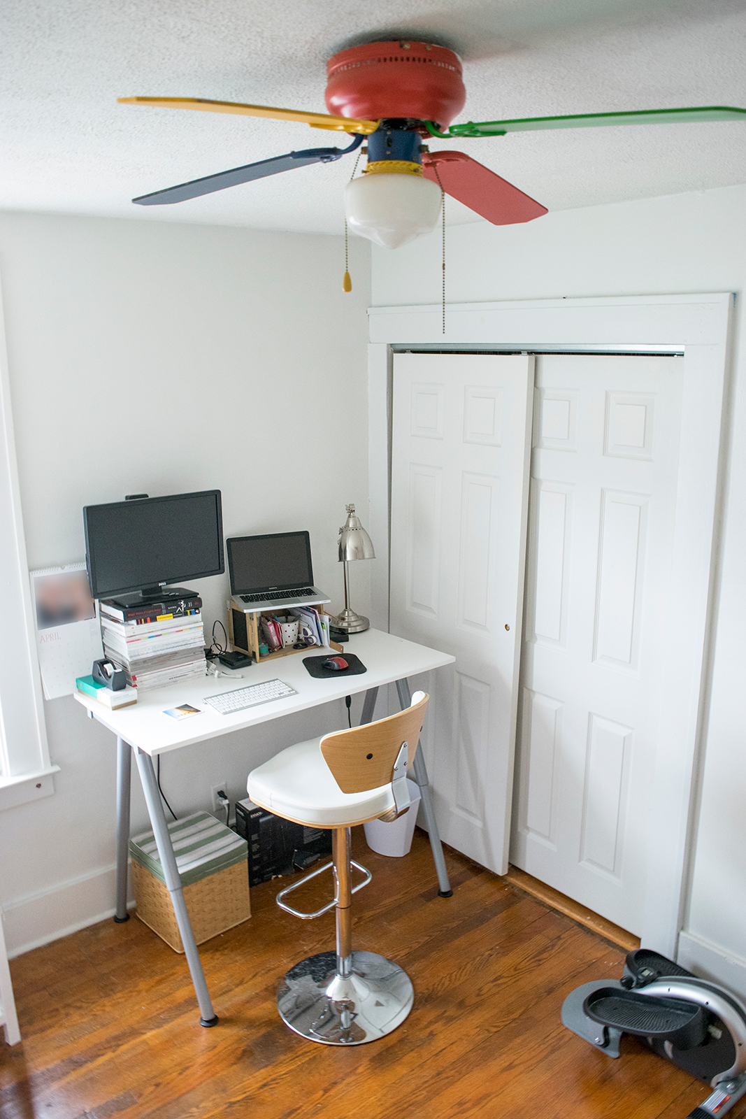 I worked remotely at the this time so I had a dedicated office, complete with a standing desk and mini elliptical! (Bedroom 3)