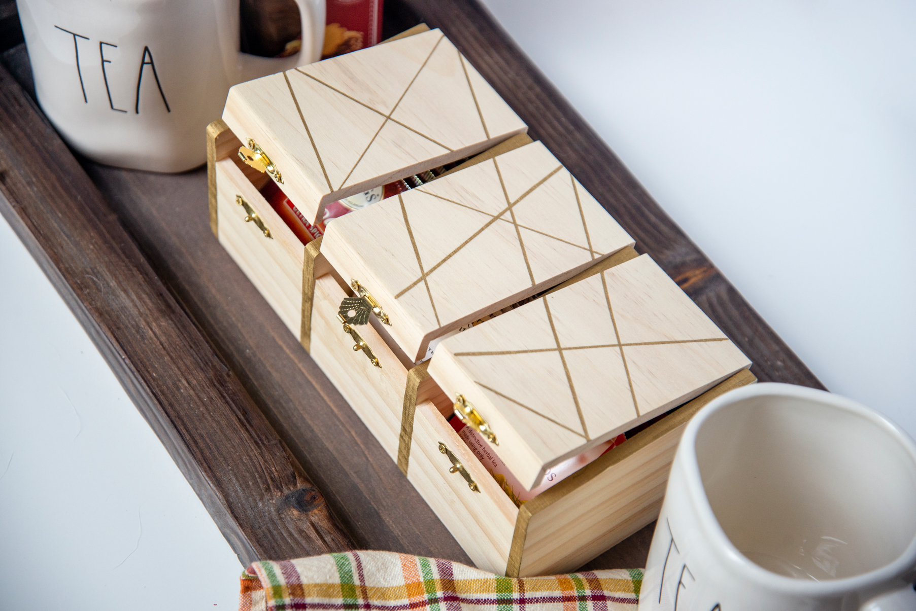 DIY Gold Painted Tea Box