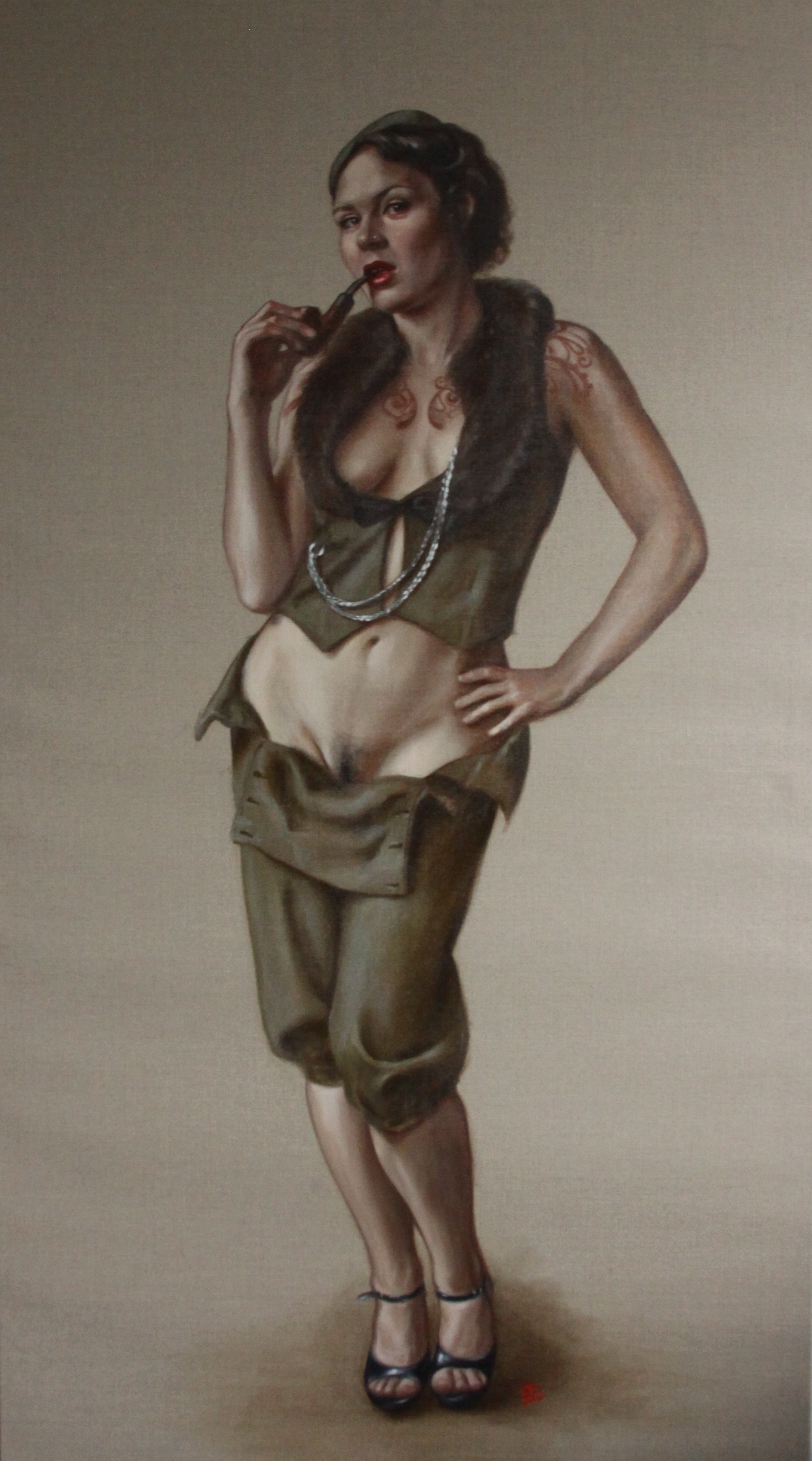 Portrait of Ms Ruby May, Standing has been removed from Mall Galleries for being 'disgusting and pornographic'.