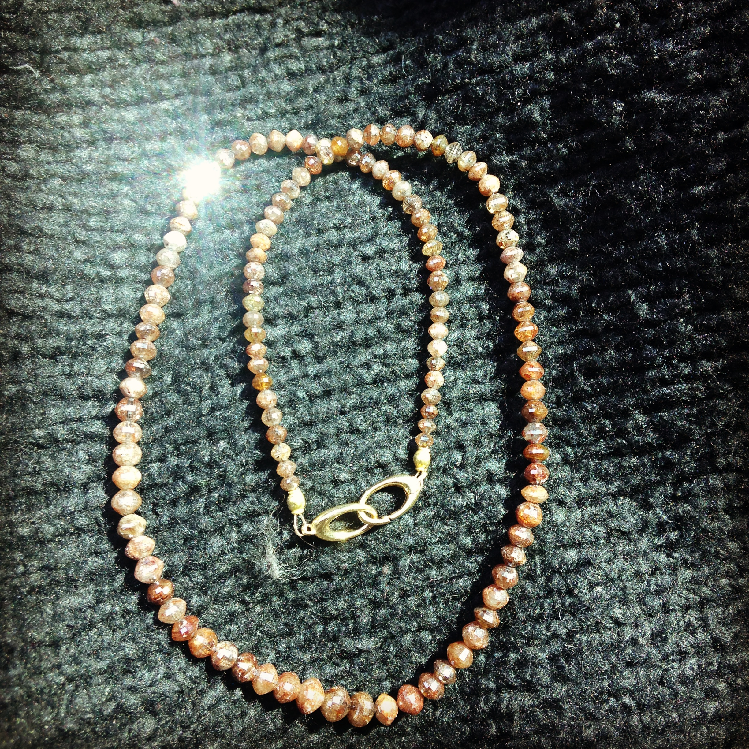 Brown Raw Diamond Necklace