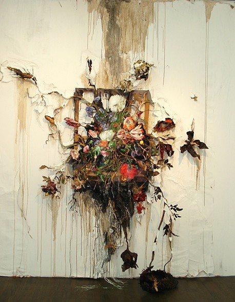 Valerie Hegarty.  Flower Frenzy.  Canvas, stretcher, acrylic paint, paper, glue, foil, glue, wire, artificial foliage and flowers, sand, thread