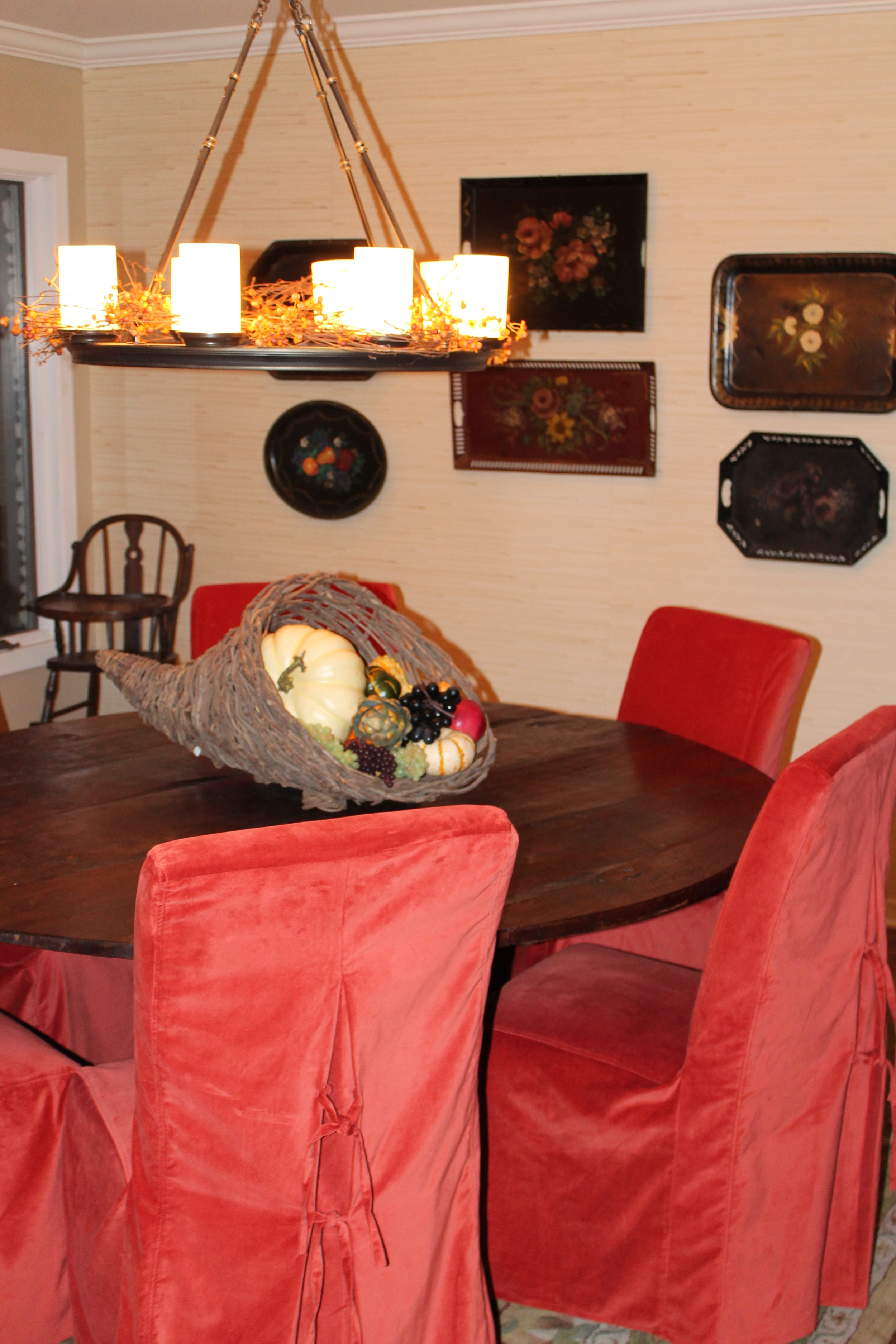 The cornucopia center piece comes next, and the dining room is finished!