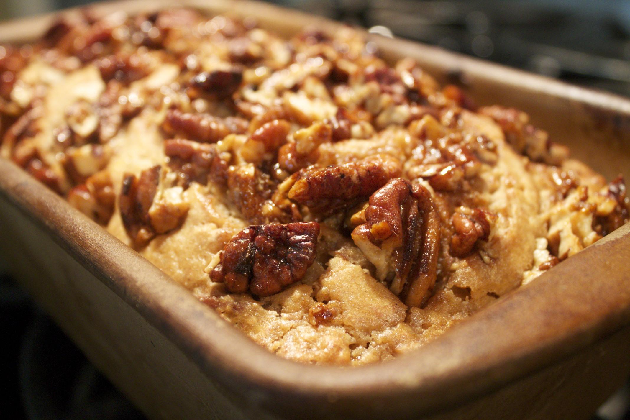 bourbon banana bread with bourbon glazed pecans