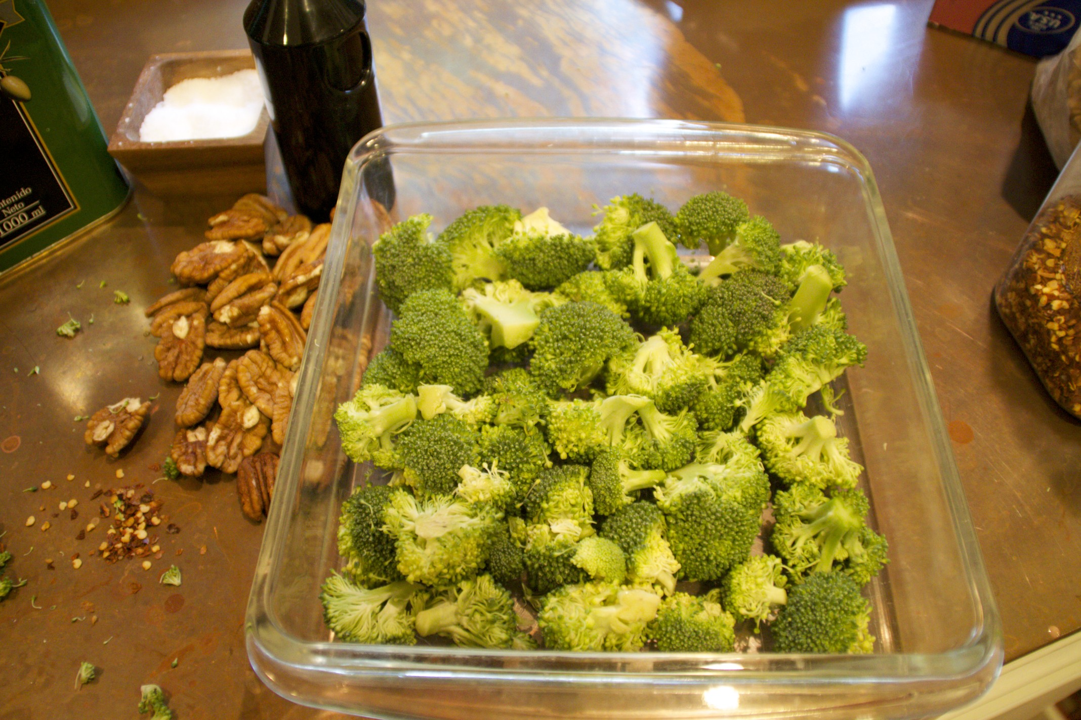 roasted broccoli and pecans