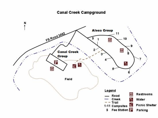 Canal Creek Campground Map