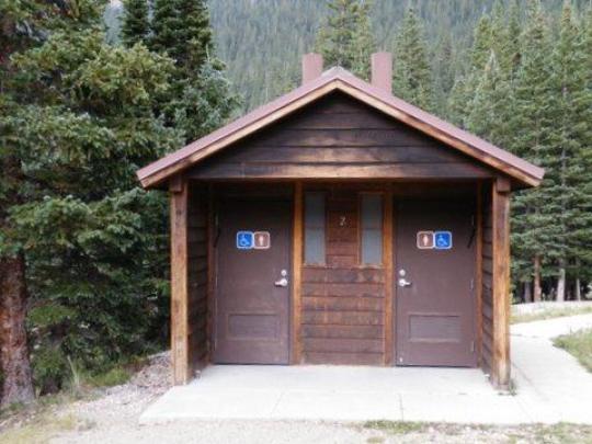 Restrooms have vault toilets