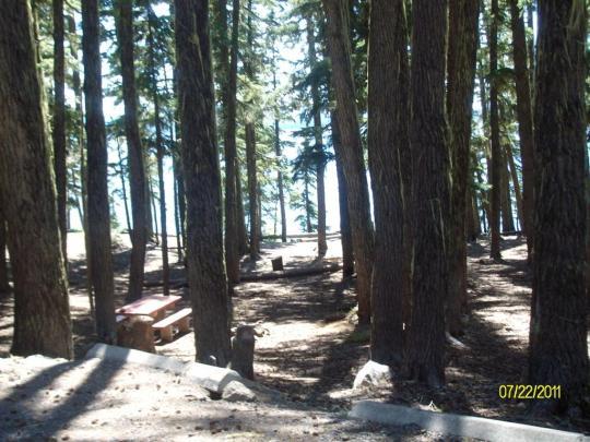 Lakeview and lakefront camping onNorth Waldo Lake near Oakridge, OR