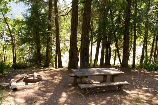Campsites overlook the lake