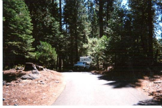 RV friendly roads and campsites in Cherry Valley Campground east of Sonora, California