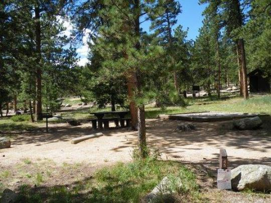 Picnic table, fire ring, tent pad