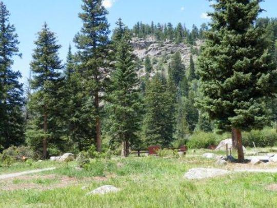 Campsites with table, fire ring and bear box
