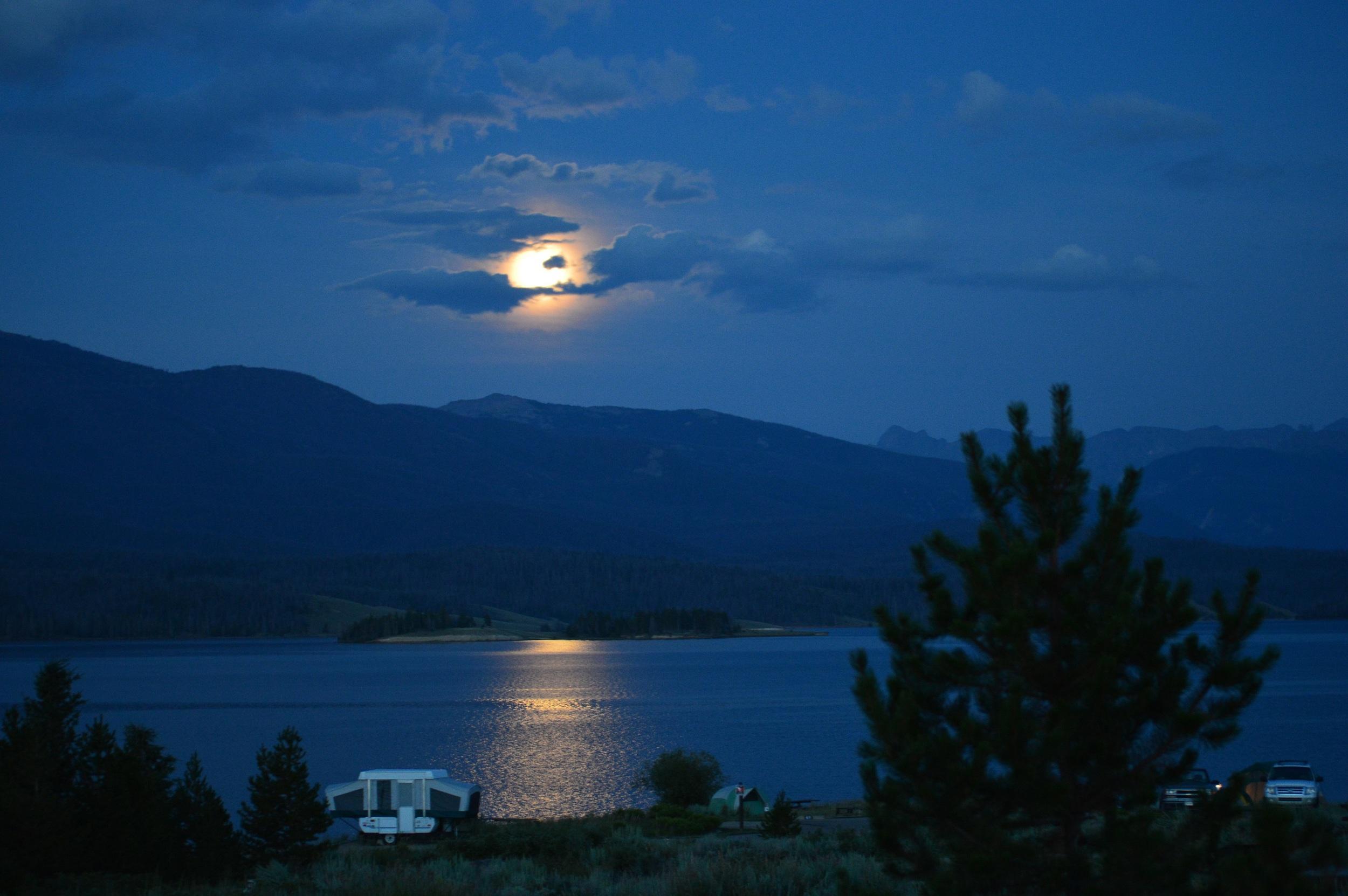 Moon over Lake Granby