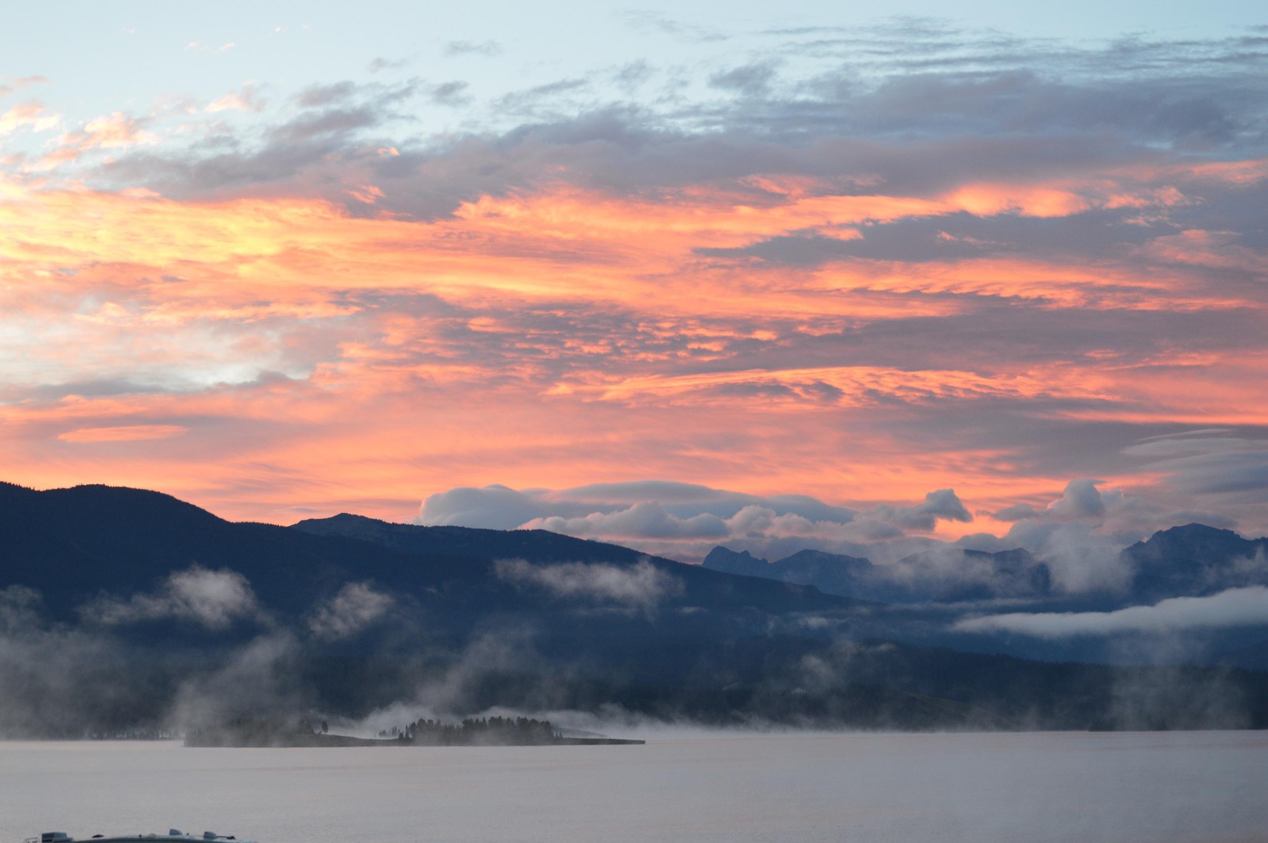 Foggy sunrise over Lake Granby