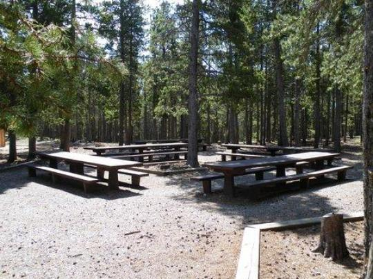 Picnic area has tables and fire ring