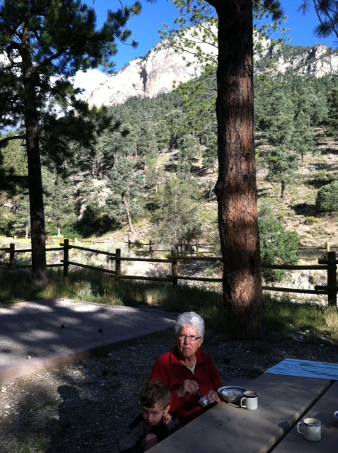 Meredith with her grandson at Hilltop Campground, Spring Mtn, Nevada