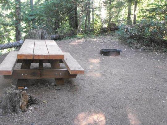 Sites have a table and fire ring