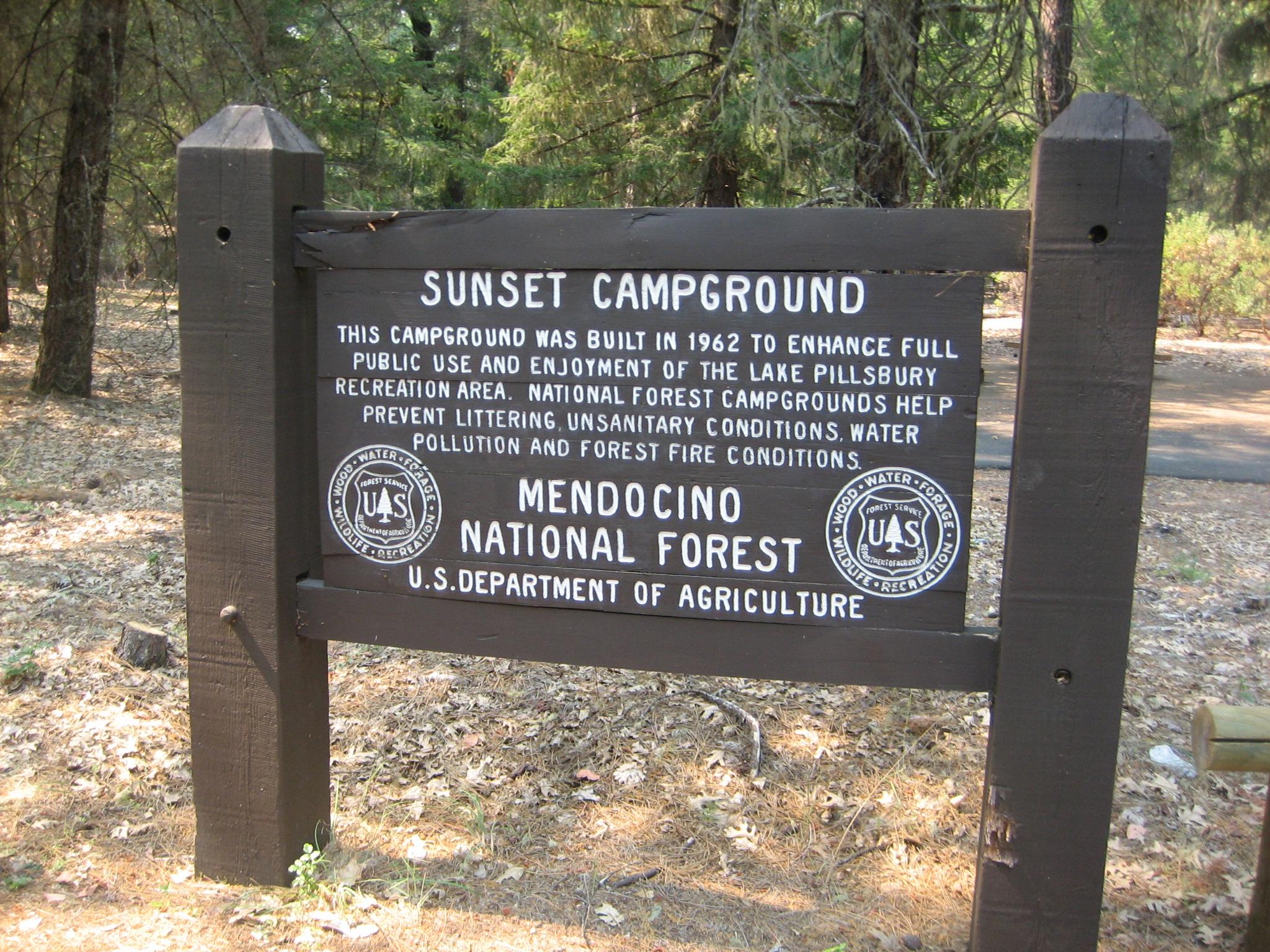Sunset Point Campground on Lake Pillsbury, California