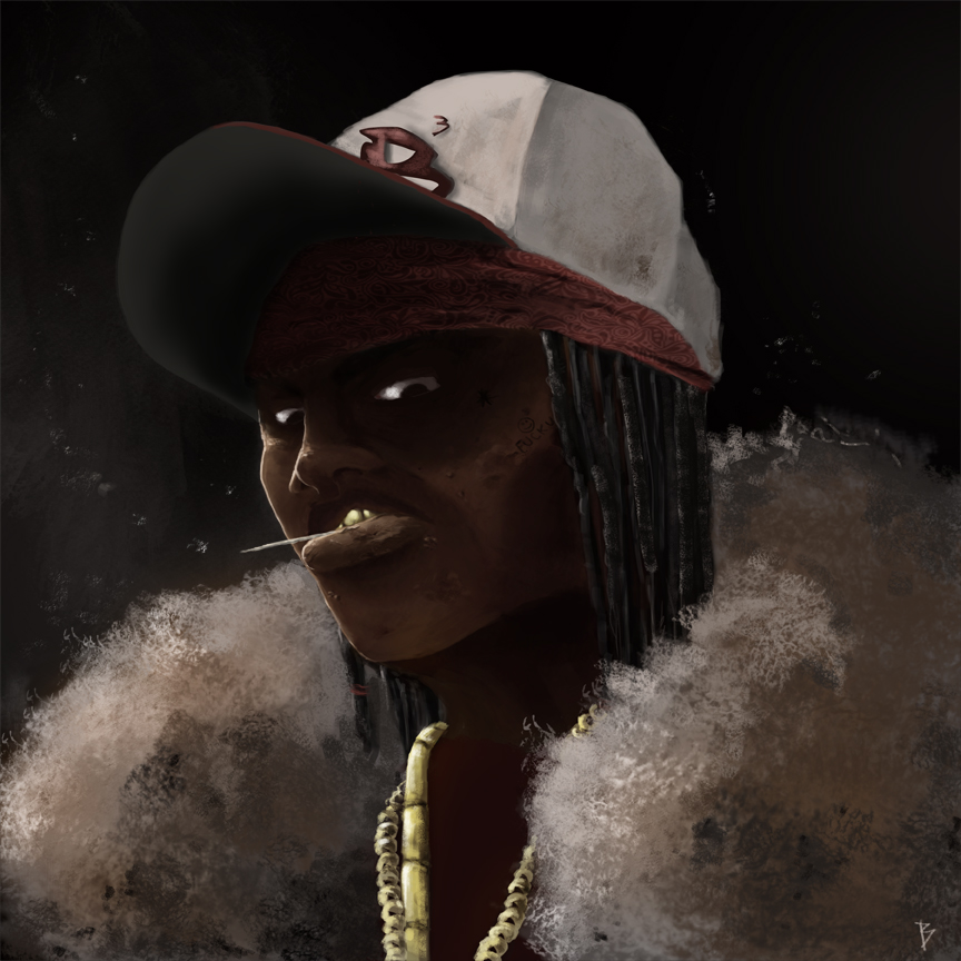 """Hey guys just a little update on what i got going on. Finished the portrait of D-ROCK. This is one of the main characters in the new book im working on """"Me and Moe"""". If you cant already tell this is not a very savory character! Enjoy :)"""
