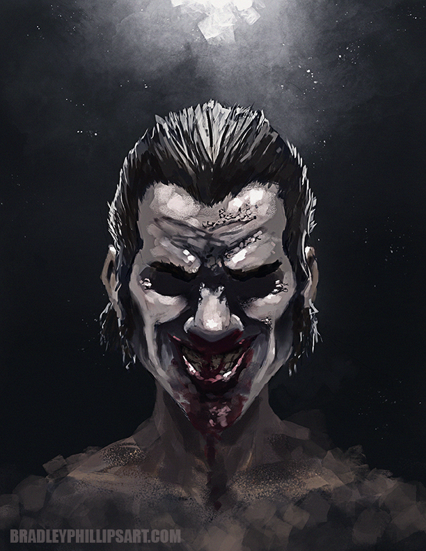 Hey guys here is a quick 2hr paint i did today. Was fun to take a break from the book and paint something a little different. I spent the day watching movies and finally watched the newest rob zombie movie...its not good. Used to really like his stuff but this one was really bad. His wife might be the worst actress ever. Anyways there was one cool thing about the movie, a character called Doomhead. The actor that played him was actually really good and the character was insane so I decided to do a portrait of him. Enjoy