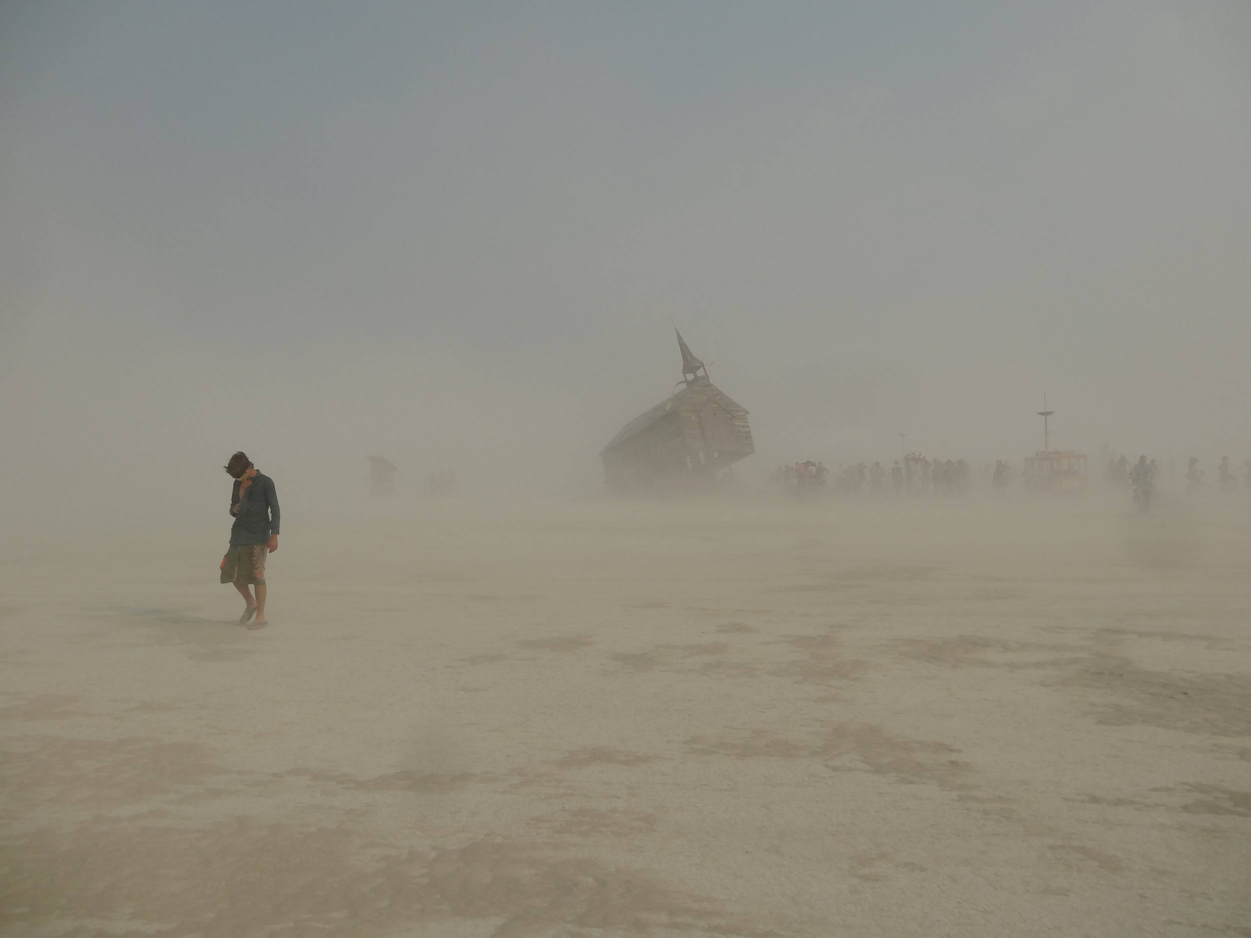 A dust storm arises in the mid morning. All burners stay prepared for such events, and treat this as part of the experience. There is an eerie quiet and solitude that overcomes you when the dust storm hits. It is somewhat like being caught in a blizzard, yet clearly quite different.